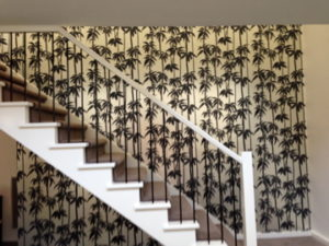 ColourFuse Wallpaper Installation - Bamboo wallpaper behind an open staircase