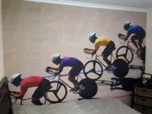 ColourFuse Wallpaper Installation - Cycling wall mural