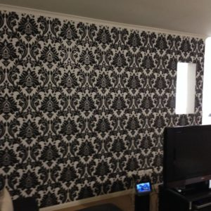 ColourFuse Wallpaper Installation - Bold black and white damask