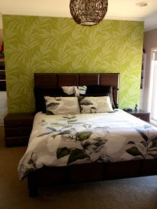 ColourFuse Wallpaper Installation - Green Plant Motif in a master bedroom suite