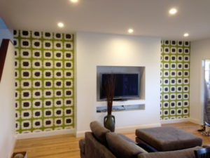 ColourFuse Wallpaper Installation - Two panels of green wallpaper
