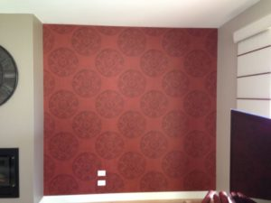 ColourFuse Wallpaper Installation - Red Mandela Motif