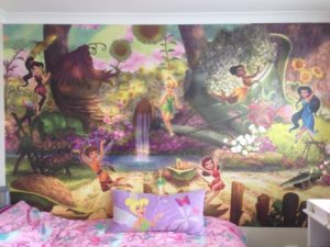 ColourFuse Wallpaper Installation - Tinkerbell and her fairy friends mural