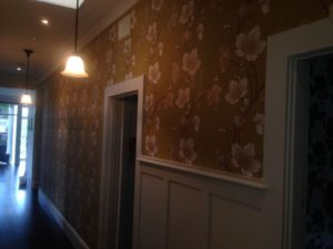 ColourFuse Wallpaper Installation - Green floral wallpaper in an entrance