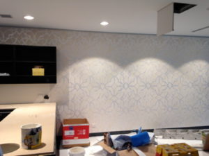ColourFuse Wallpaper Installation - Wallpaper being installed in a kitchen during its construction