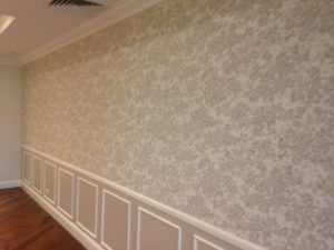 ColourFuse Wallpaper Installation - Large floral 3/4 wall