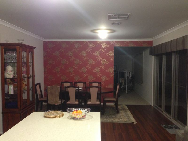 red and gold dining room | colourfuse-wallpaper-installation-red-and-gold-wallpaper ...